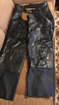Black leather chaps motorcycle