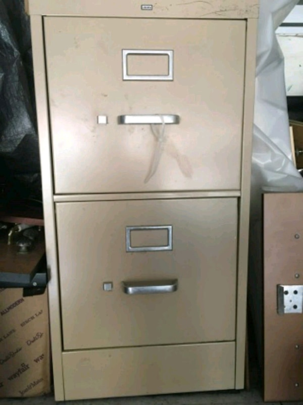 white metal 2-drawer filing cabinet a48997d4-45e0-4268-a596-3fc28710f6fd