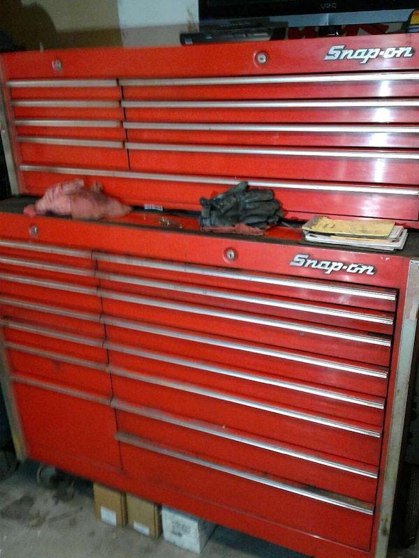 Two Red And Gray Snap On Tool Cabinets