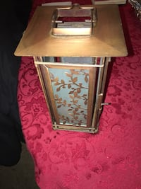 PRICE REDUCED — MOVING AND MUST SELL BY 4/20 — Antique brass and frosted glass lantern. $75