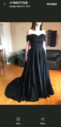 As pictured, but in black. Size 12 brand new gown. Edmonton, T5T