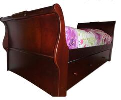 Sleigh twin bed with trundle and Armoire