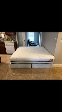 King size Sleigh bed frame with Therapedic hybrid gel mattress Fort Myers
