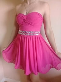Beautiful pink homecoming dress with silver jems