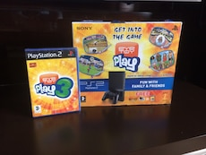 PS2 game console, controller and game box