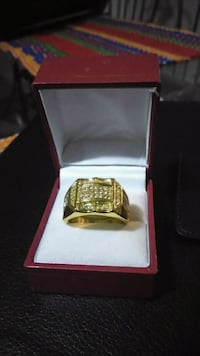 Men Plated Gold Ring, with xirconia stones