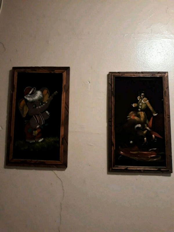 Used Two Brown Wooden Framed Paintings Of Flowers For Sale In