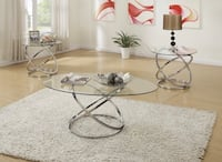 NEW 3 PCS GLASS COFFEE TABLE SET  Clifton, 07013