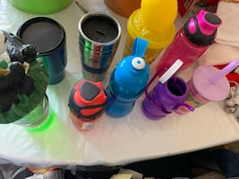 Water bottles and cups