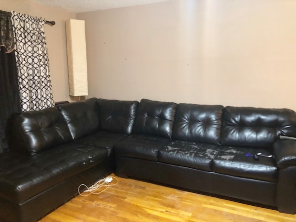 Tufted black leather 5 seat sofa set