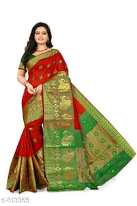 women's green and red sari dress