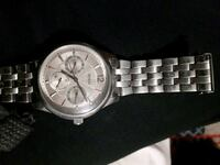 round silver chronograph watch with link bracelet Middle Sackville, B4E 3E2