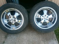 two chrome 5-spoke vehicle wheels and tires Garden City, 67846