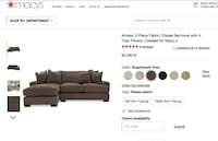 Ainsley Macys Sectional Grey Feather Blend Sofa Couch Matching Pillows New York