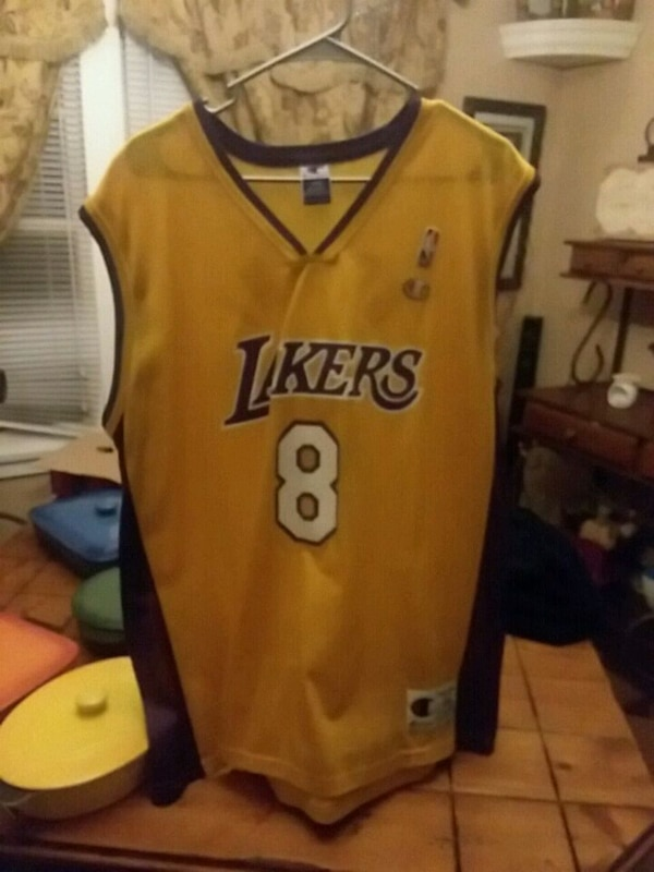 online store fb875 e3c31 yellow and blue Kobe Bryant Lakers 8 NBA jersey