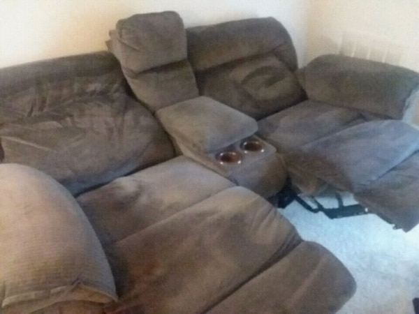 brown suede recliner sofa chair