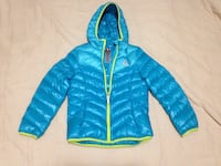 Blue and green zip-up bubble hoodie