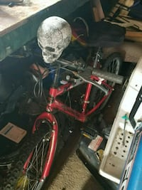 Mountain bike with skull on handle bars.  Garrett
