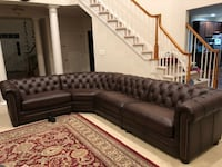 Real genuine Italian leather sectional sofa brown  Gaithersburg, 20878