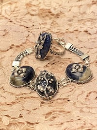 Stunning hand engraved natural stone bracelet and ring set
