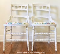 Pair of antique shabby chic farmhouse chairs 532 km