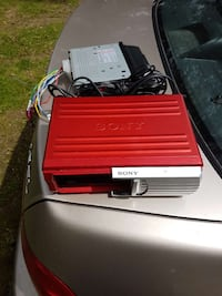 red Sony metal case and black car stereo