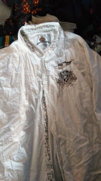 white and black floral button-up sport shirt Jamestown, 14701