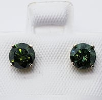 10K Yellow Gold Green Diamond(total 1.14ct) Earrings, Made in Canada 多伦多, M6J 1T8