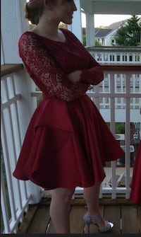 Short Red Two Piece Homecoming Dress Valparaiso, 46385