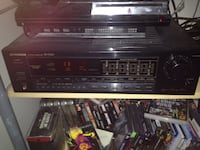 Vintage stereo receiver and speakers.