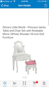 Doll furniture vanity