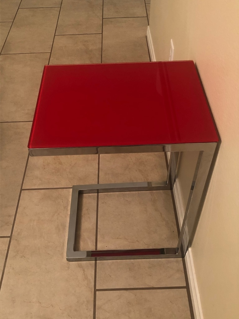Photo Red glass and chrome modern side table