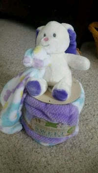 white and purple rabbit plush toy and a blanket Englewood, 80111
