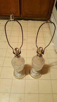 Pair of vintage cut glass bottom lamps