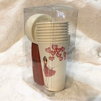 """Graphique 8 Paper Travel Cups """"Heart Balloons"""" 8 - 16oz (473ML)"""