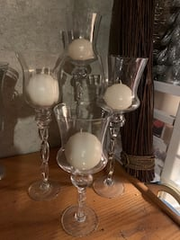 ASSORTMENT OF TALL DECORATIVE GLASSWARE with or with out candles.