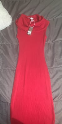 Red turtle neck dress