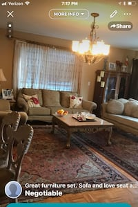 Sofa and love sit  chaise lounge with coffee table and side table and table lamp and 2 wall art   compleat set $2000