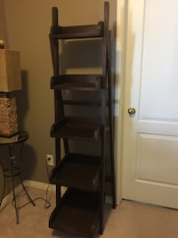 Beautiful Wooden ladder shelf, large and small shelves.  Great for displaying special items. Can be even used for housing towels, magazines.