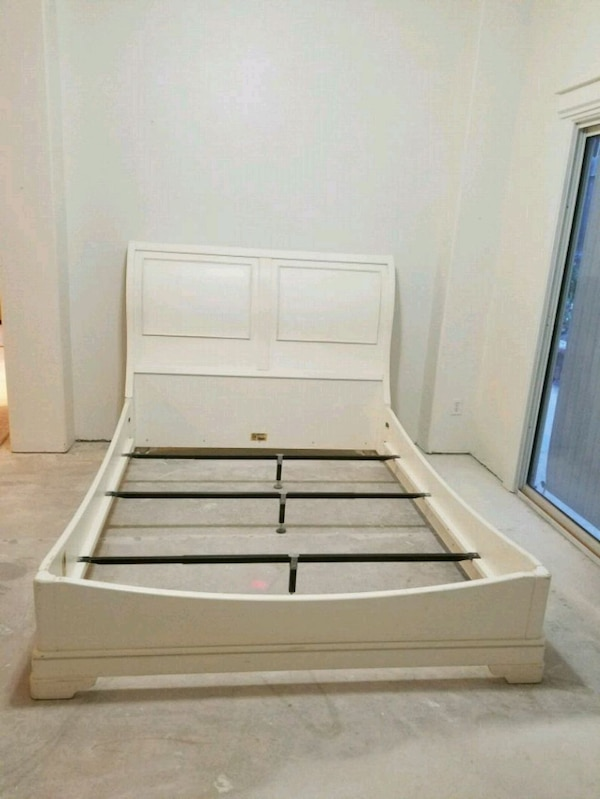 white and gray bed frame