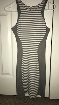 Black and gray striped sleeveless back-zip pleated dress Miami