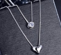 New 925 sterling silver double layer heart and cz necklace+FREE silver polishing cloth Camarillo, 93012