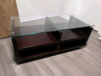 brown wooden framed glass top coffee table Toronto, M2J 2M5