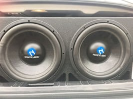 Q-Bomb dual 12' case and two Nemesis speakers