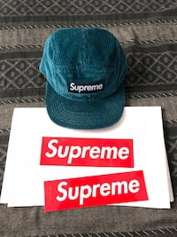 Supreme Teal Box Logo Waffle Corduroy Camp Cap Hat FW17 Los Angeles, 91606