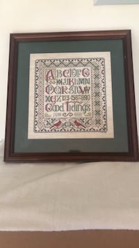 HANDMADE CROSS STITCH FRAMED  GOOD TIDINGS Hanover, 21076