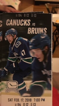 two Canucks Vs. Bruins admission tickets Vancouver