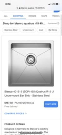 Blanco 15x15. Stainless steal sink