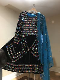Beautiful Black Handmade Velvet With Sequins Afghan 3 Piece Clothes
