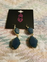 pair of gold-colored blue stone hook earrings